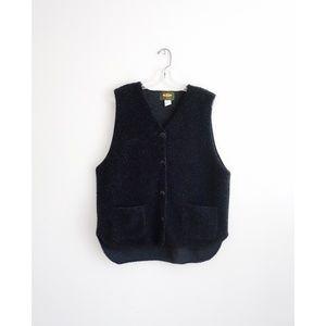 Vintage 90s Free People Black Fleece Vest sz M